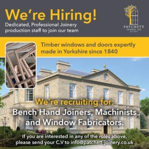 Patchett Joinery - Timber Windows and Doors - Recruitment